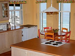 The kitchen in Bishop's Cove Lodge overlooking the cove